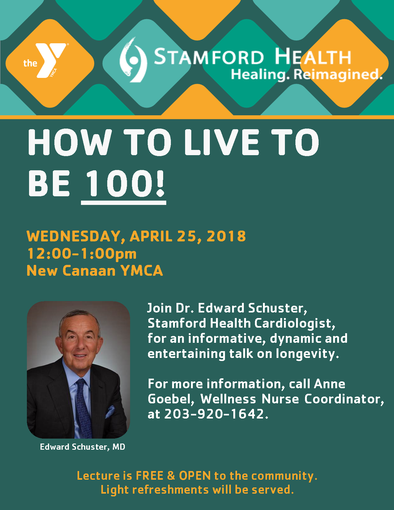 How to Live to be 100! @ New Canaan YMCA, Wagner Room