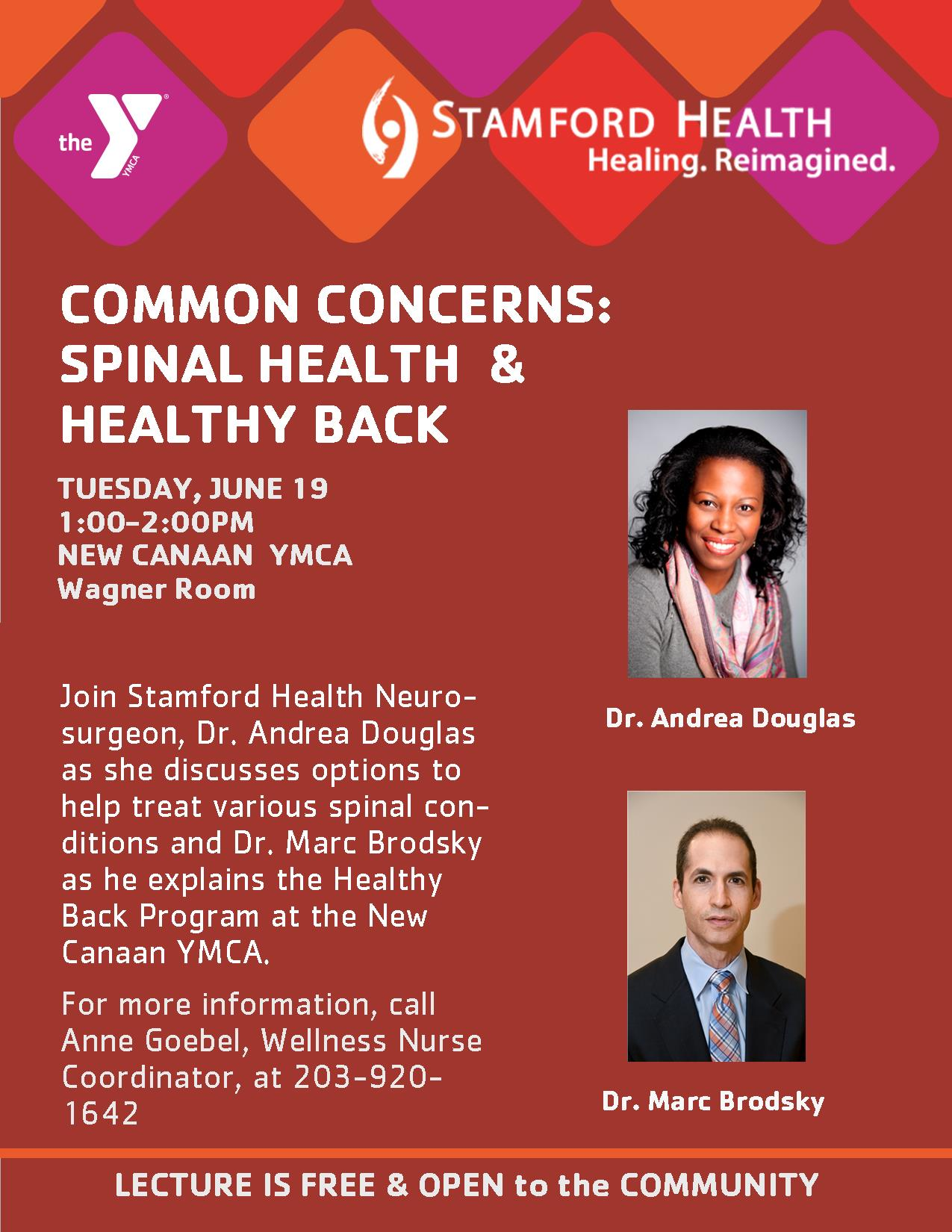 Spinal Health & Healthy Back Lecture @ New Canaan YMCA, Wagner Room