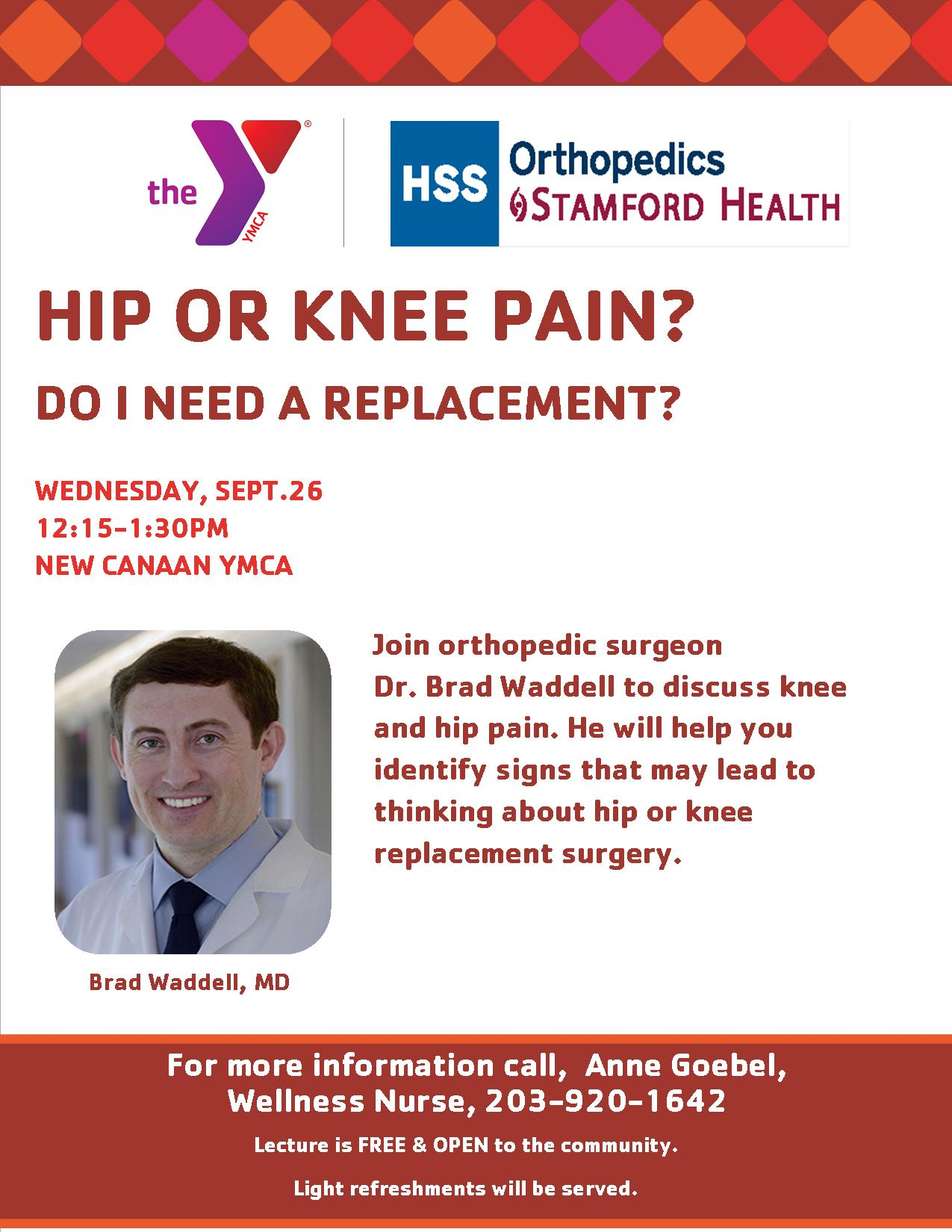 Hip or Knee Pain? @ New Canaan YMCA, Wagner Room