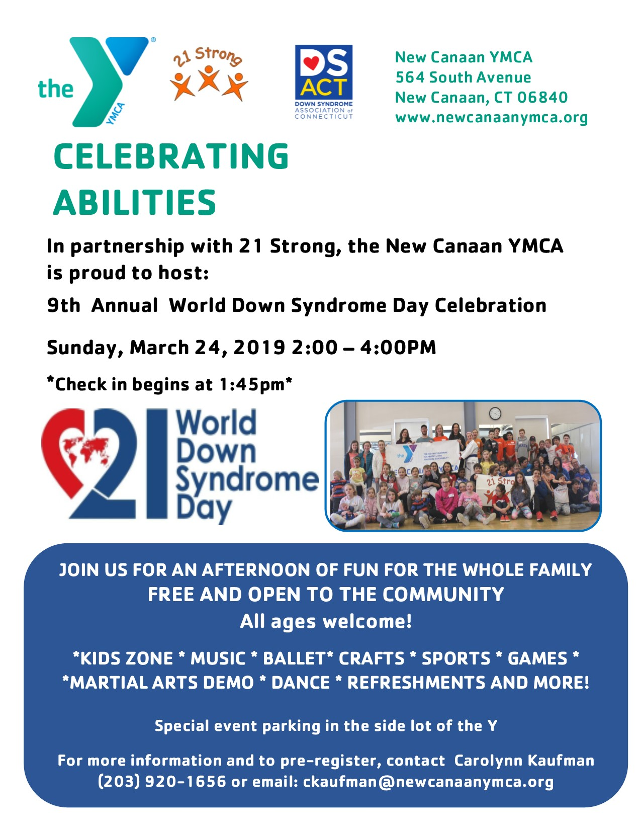 9th Annual World Down Syndrome Day Celebration @ New Canaan YMCA